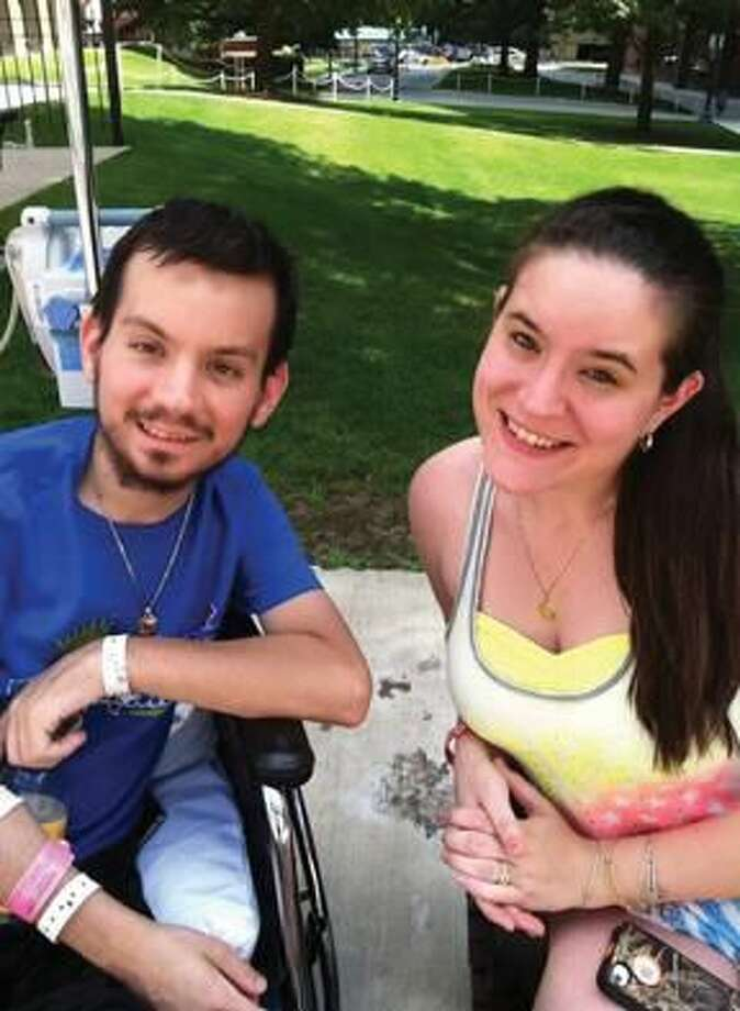 Photo submitted by Taylor Jacques Jordan Jacques with his twin sister Taylor in the Courtyard of Massachusetts General Hospital during the 4th of July.