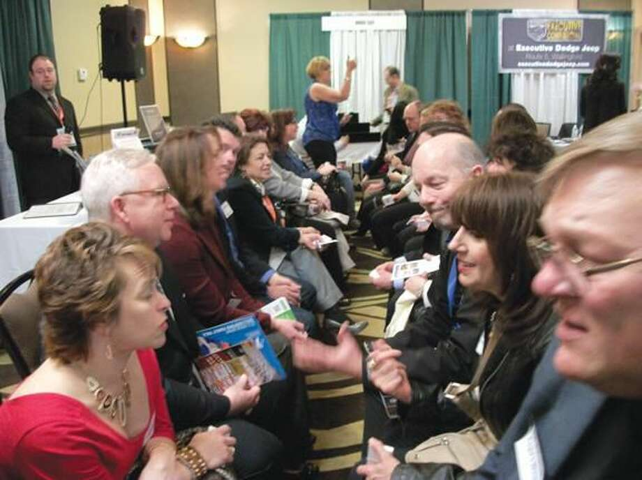 Photos by Lynn Fredricksen Members and guests at the Business 2 Business showcase presented by the Quinnipiac Chamber of Commerce enjoyed a Speed Networking event that allowed them to meet and greet dozens of potential clients in a matter of minutes.