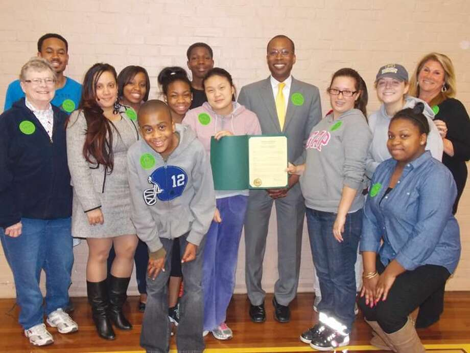 Submitted Photo Mayor Scott Jackson acknowledges Positive Choices Week in Hamden and presents a Proclamation to participants of Hamden Youth Center programs, run by Hamden Youth Services in partnership with Hamden Public Schools. Also pictured are Positive Choices Coalition members Brenda Davis of Hamden Elks, Kyisha Velazquez of Hamden JRB and Chris Wilson, Youth Center Program Director.