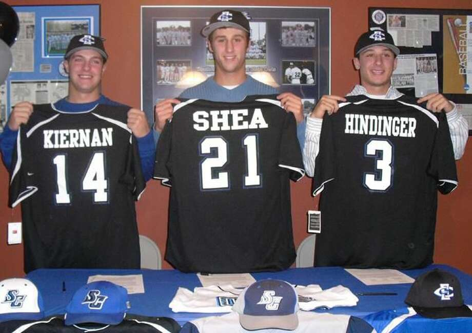 T.K. Kiernan, T.J. Shea and Will Hindinger recently signed their National Letters of Intent to attend and play baseball at Southern Connecticut State University in the fall of 2010. (Submitted photo)