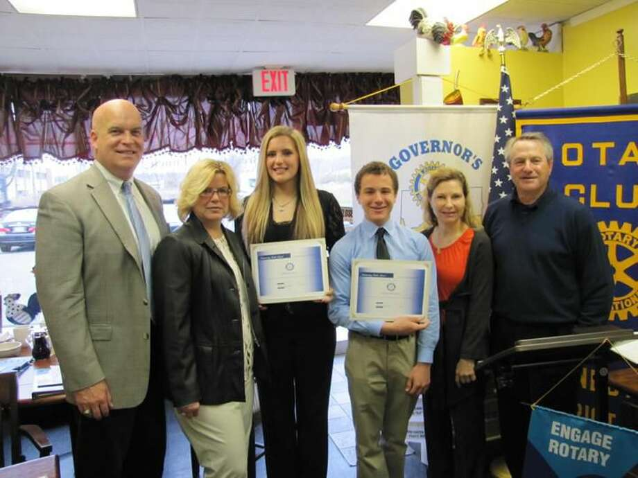 Submitted Photo Students of the Month Amanda Kenny, with her parents Renee and Robert Kenny, and David Wingate, with his parents Tonya and Randy Wingate, were recognized by the North Haven Rotary Club in May.