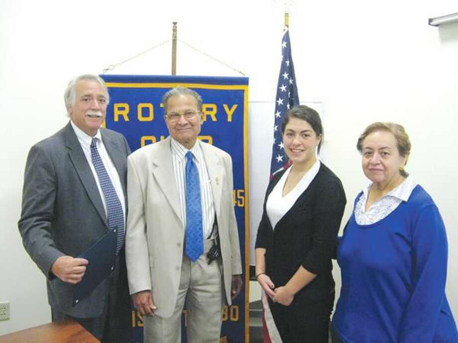 Submitted Photo Scholarship recipient, Rachel Hoffman (third from left) is flanked by James Giulietti, Crystal Neuhauser and Rotary President, Nick Casella.