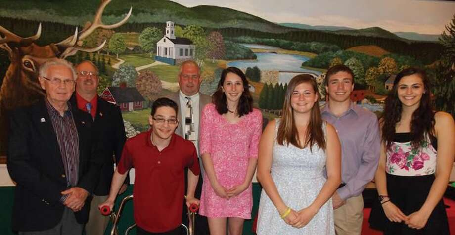 Submitted Photo Shown with Carl Gorman, Carl Rennie and Lodge President Brian Forsyth are Connolly Scholarship recipients in attendance at the Hamden Lodge Annual Youth Awards Banquet which was held during National Youth Week.