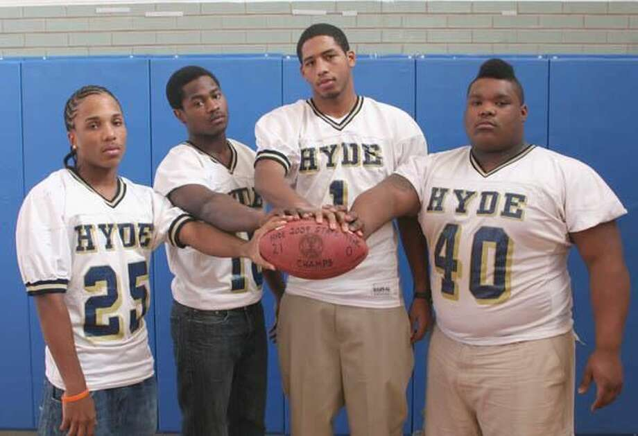 Hamden residents, from left to right, Myles Morrison, Andrew Greene, DeShawn Murphy and Justen Wilson helped lead the Hyde football team to the Class S state championship this past season. (Photo by Russ McCreven)