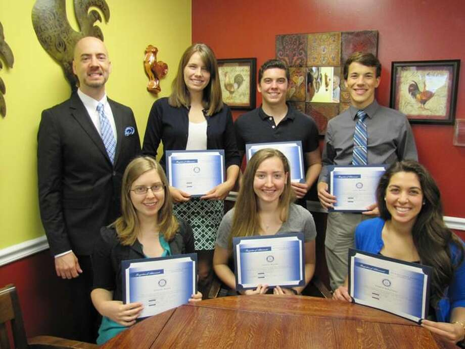 Submitted Photo The Principal of North Haven High School introduced 6 of 7 Rotary Club scholarship winners at a recent meeting held at the Breakfast Nook in honor of the recipients. Pictured left to right, top row: Allison Carroll, Matthew Brandt and Jesse Morrow. Seated: Amanda Royka, Sydney Brooks, and Angela DeFilippo. Not pictured is Francesco Scarano.