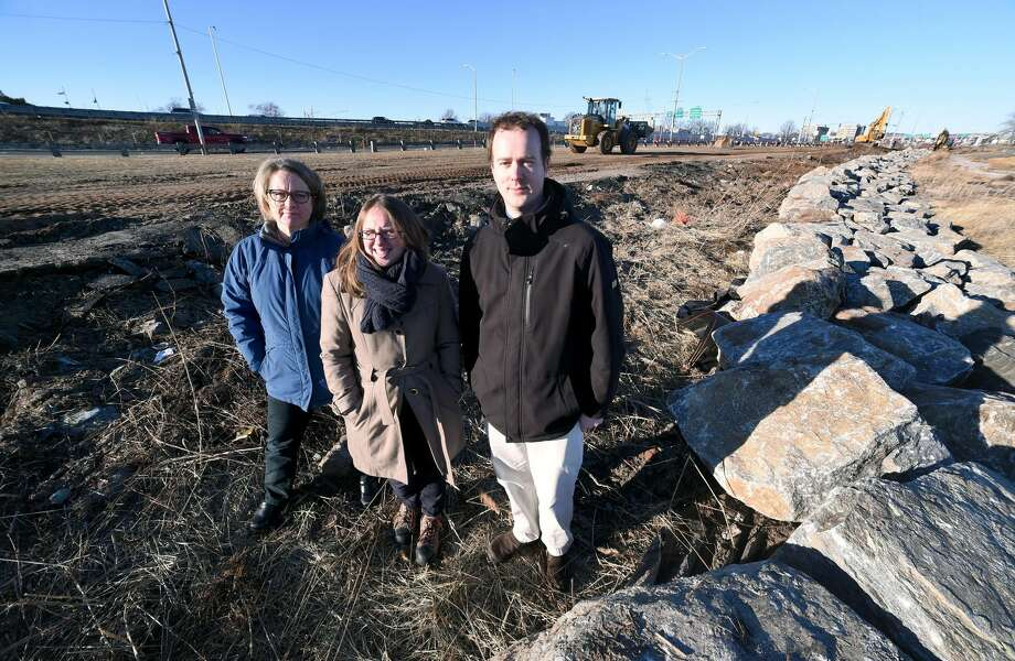 Left to right, Donna Hall, senior project manager, Rebecca Bombero Director New Haven Parks, Recreation and Trees, and City Engineer Giovanni Zinn are photographed at the Long Wharf Park where a bulkhead is being built to repair damage from Superstorm Sandy and Hurricane Irene on January 25, 2018.