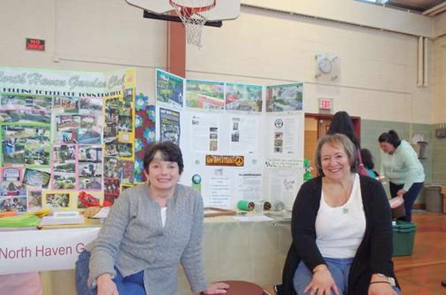 Submitted Photo Earth Day with North Haven Garden Club members Lynda O'Donnell and Gerri Giordano.