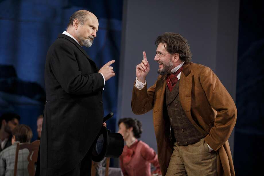 "Enrico Colantoni, left, and Reg Rogers in ""Enemy of the People"" at Yale Rep."