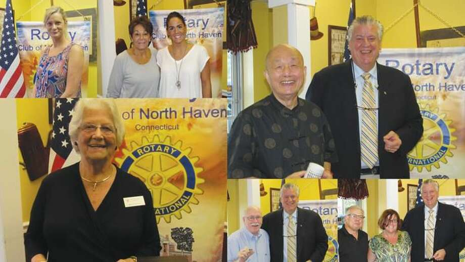 Submitted Photo Top, left to right: Jen McGarry, and Roe and Tiffanie Perrotti accepted donations from the North Haven Rotary Club at the Breakfast Nook; and Chun Hsu got the nod for exemplifying 'service above self' from President Nick D'Ambrosia. Bottom, left to right: Marcia Hilditch spoke of kidney disease; and Rotarians Bill Espowood and Anita Anderson received recognition pins.