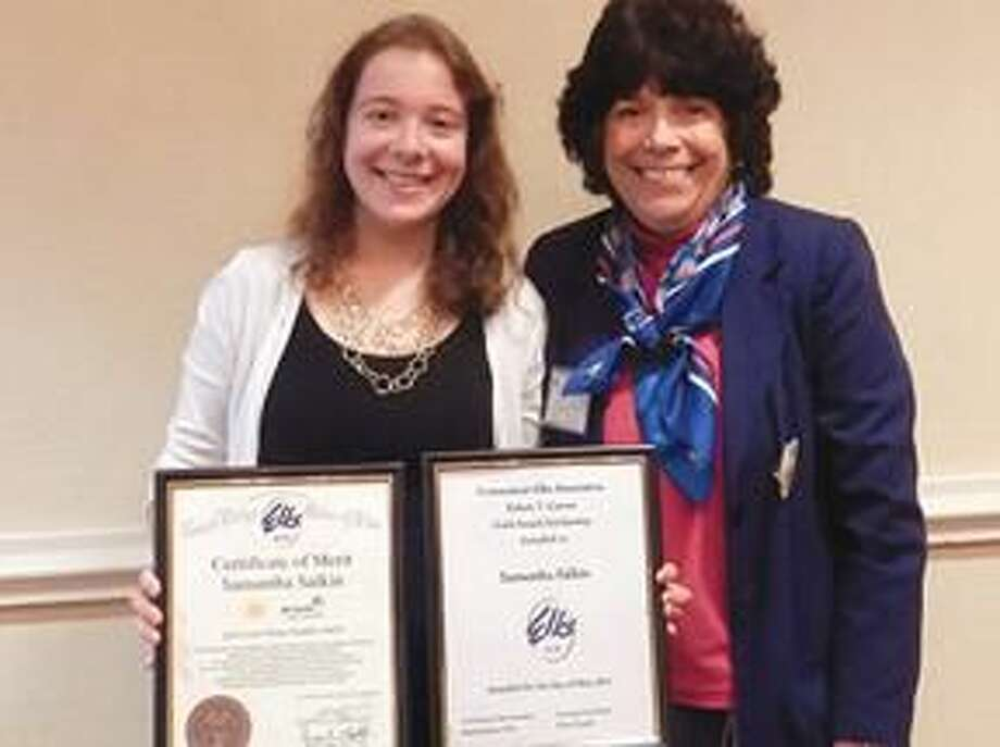 Submitted Photo Karen Forsyth Connecticut Elks Association Scholarship Liaison/ Hamden Lodge Past President with Curran award recipient Samantha Salkin.
