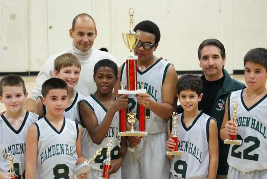 The Hamden Hall fifth-and-sixth-grade tournament basketball team recently won the St. Vincent De Paul of East Haven Basketball Tournament. (Submitted photo)