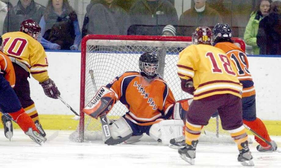 Lyman Hall goalie R.J. Negri makes a save against Sheehan. (Photo by Russ McCreven)