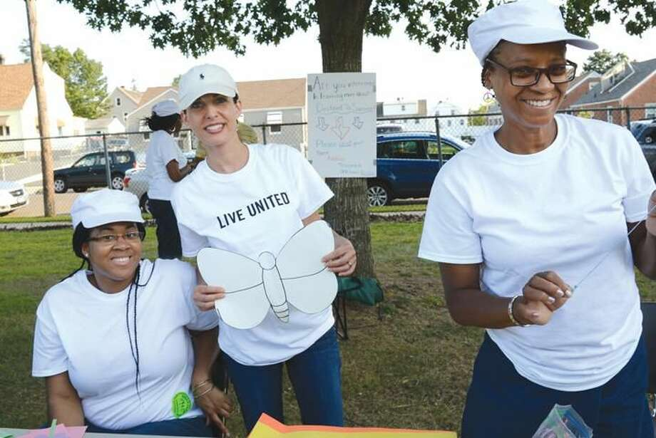 submitted photo United Way of Greater New Haven volunteer Liat Modiano, center.