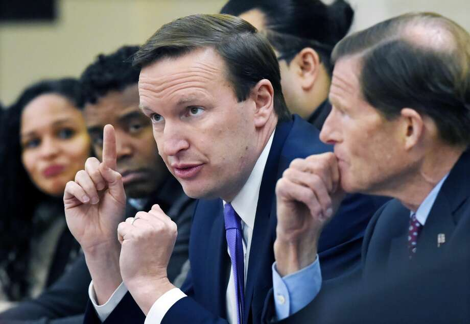 Sen. Richard Blumenthal (D-Conn.) and Sen. Chris Murphy (D-Conn.) met with members of the Puerto Rican community at Fair Haven Middle School in New Haven to discuss their joint visit to the island where they witnessed severe conditions and their call on Congress to provide immediate aid, Friday, Jan. 5, 2018.