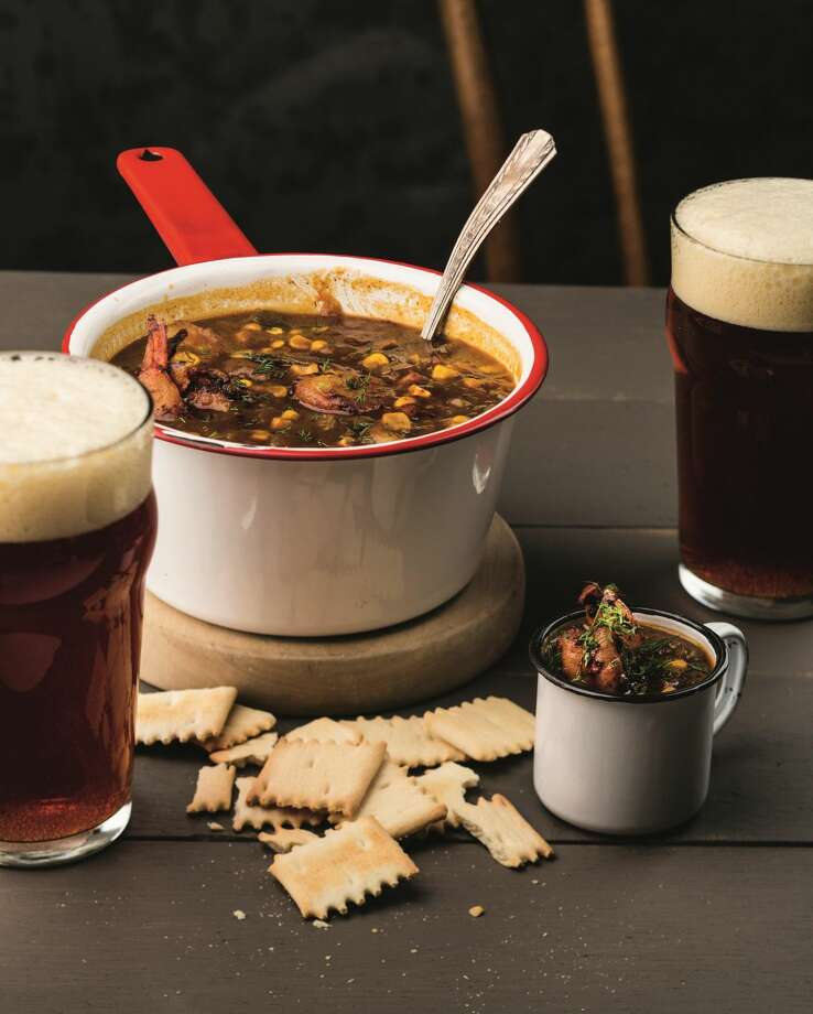 Blackened shrimp and corn chowder pairs well with an amber ale.