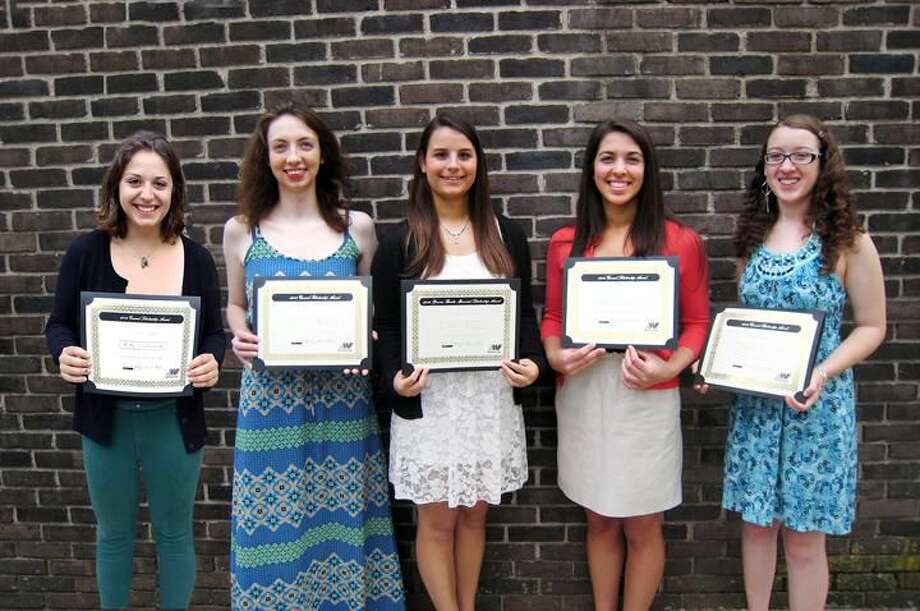 Submitted Photo Wepawaug-Flagg scholarship winners pose with their certificates. Pictured from left are: Molly Gambardella, of North Haven; Gleeson Ryan of North Branford; Alicia DiVito (a Southern Connecticut State University student from Enfield), Angela DeFilippo, of North Haven; and Angelyn Cannon, of Hamden.