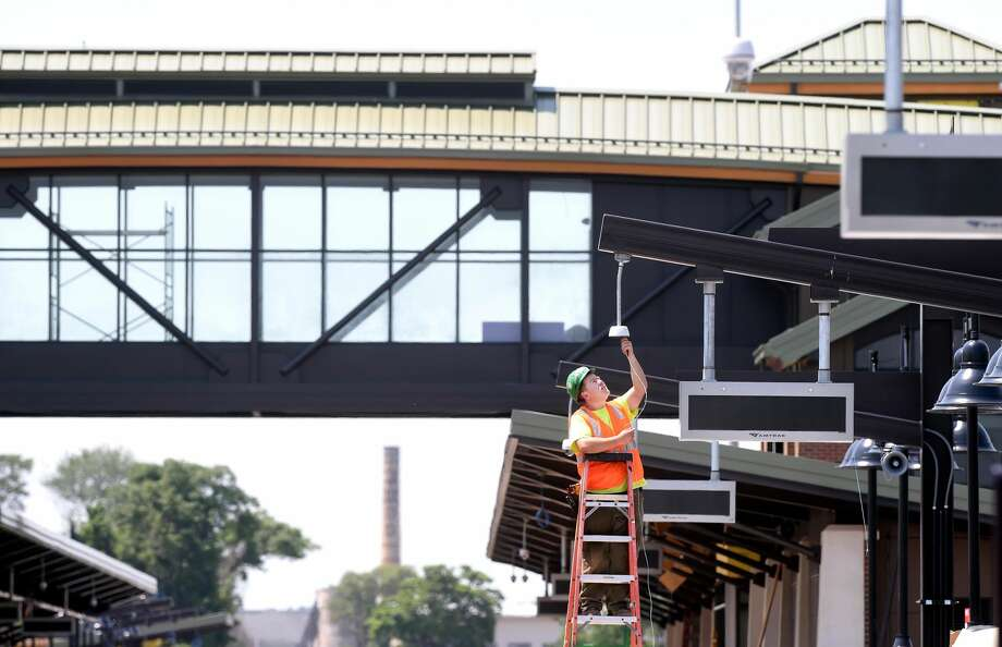 Work progresses on the Wallingford Station on last June. Service to the station is scheduled to begin in January of 2018 and the number of round-trip trains between New Haven and Hartford will nearly triple.