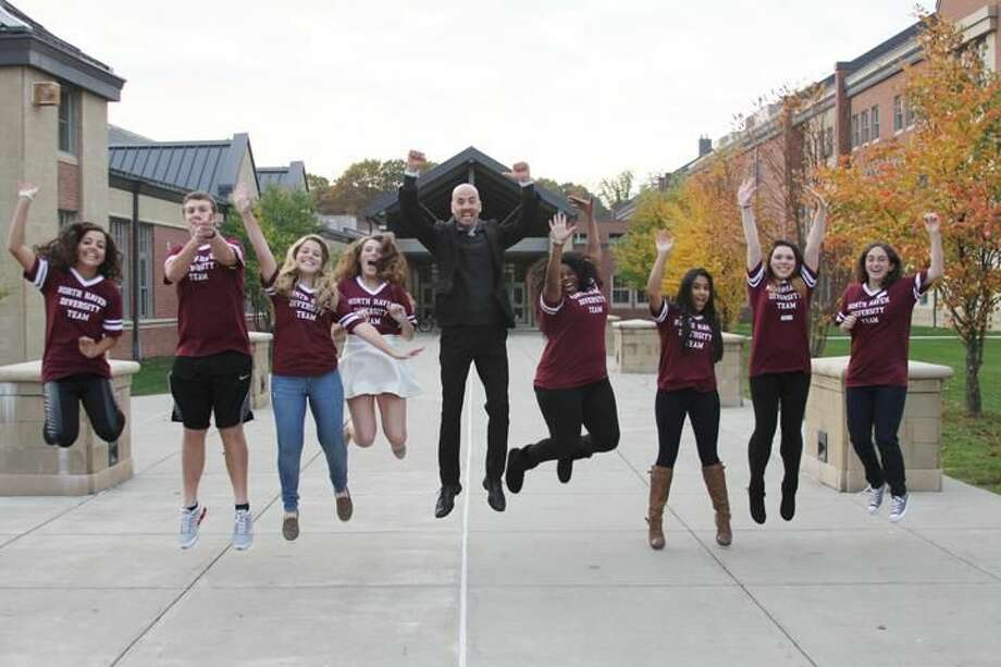 Submitted Photo by Cassie Paolillo North Haven High School's Diversity Team is shown wtih Principal Dr. Dallai. Pictured left to right: Reaghan Bathrick, Nick Marinuzzi, Rylee Bathrick, Makenzie Curr, Dr. Dallai, Adrianna Kelly, Sachi Patel, Kayla Shay, and Rebecca Spadicenta.