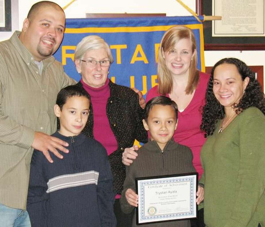 Submitted Photo Hamden Rotary Club has announced Trystan Ayala as its Student of the Month.Pictured left to right, top: Mr. Ayala, Helen Street School Principle Lynn Kelleher, Trystan's teacher Karen Franklin, and Mrs. Ayala; Bottom: Jacob Ayala and Trystan Ayala.