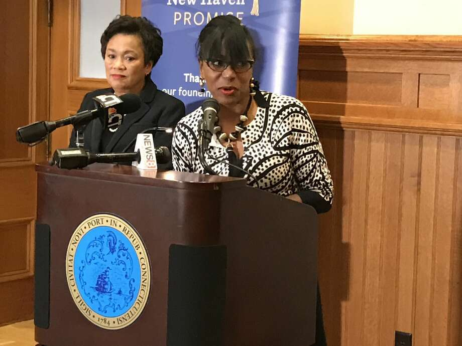 New Haven Promise Presieent Patricia Melton speak a new conference with Mayor Toni Harp