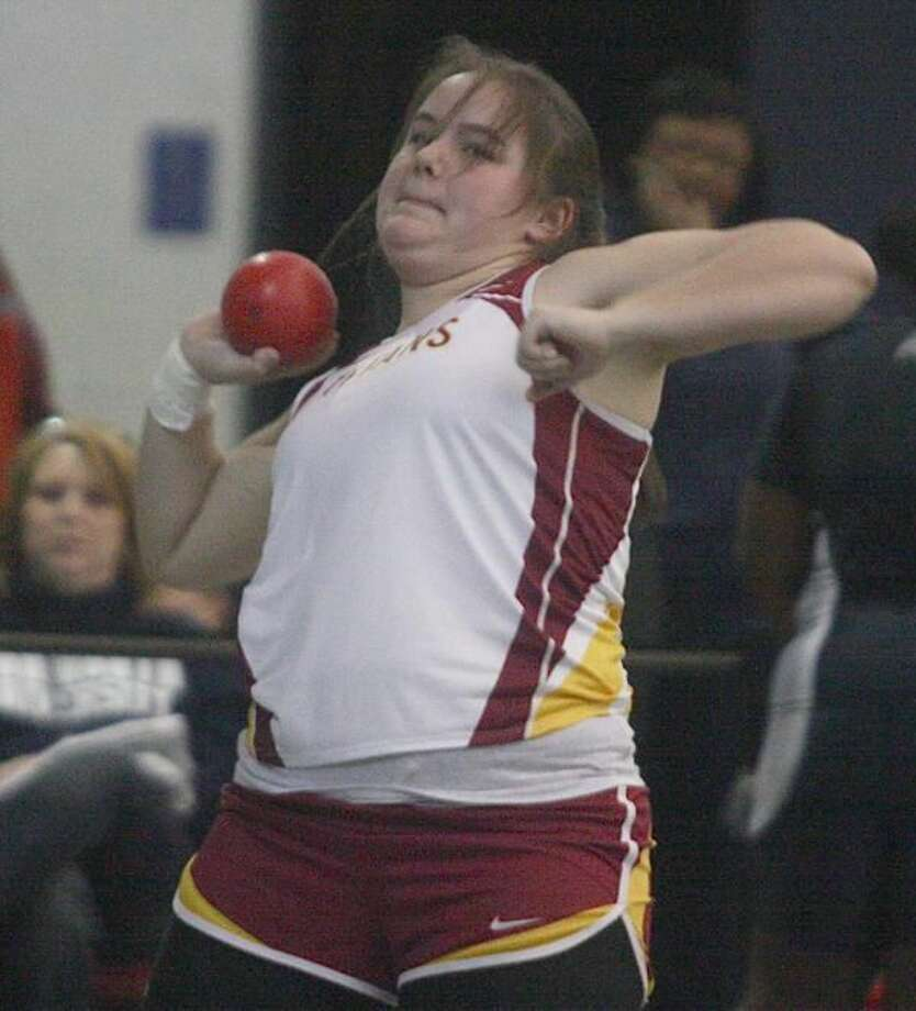Sheehan's Leann Bideford competes in the shot put at the SCC indoor track championships. (Photo by Russ McCreven)