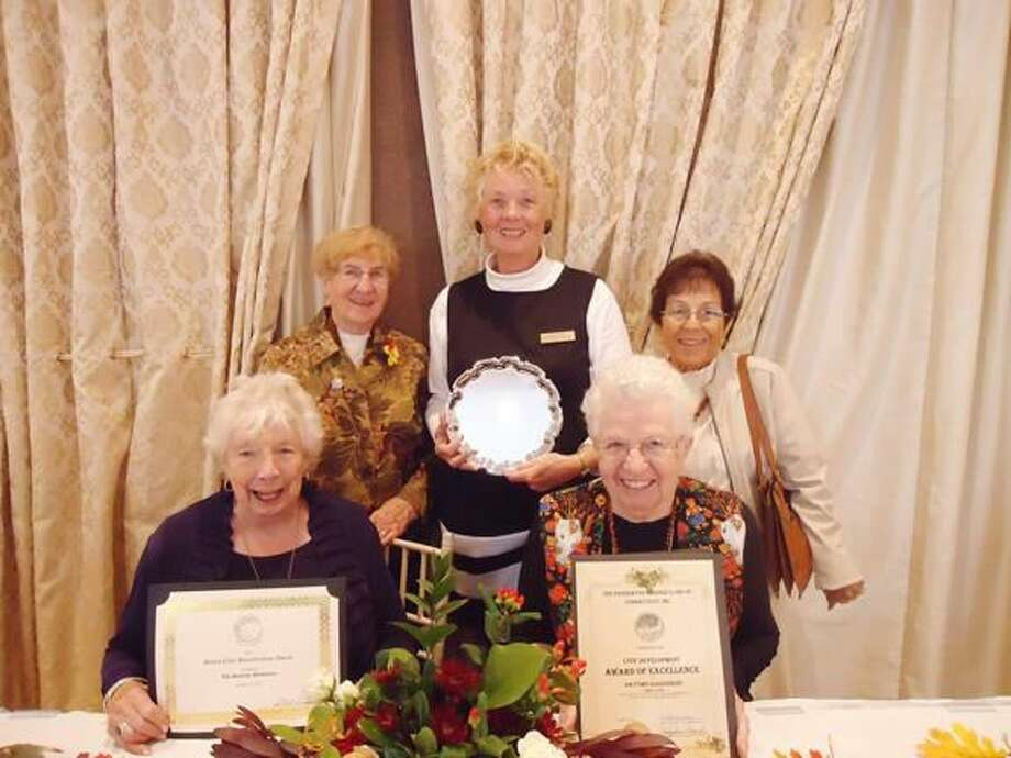 Submitted Photo Pictured are members of the Daytime Garden Club with their Awards at the 2014 Federated Garden Clubs of Connecticut Inc. Standing, left to right, are Brenda Howlett, Janice Meinsen, and Marie Dube; seated are Rebecca Simpson, left, and Eleanor Harple.