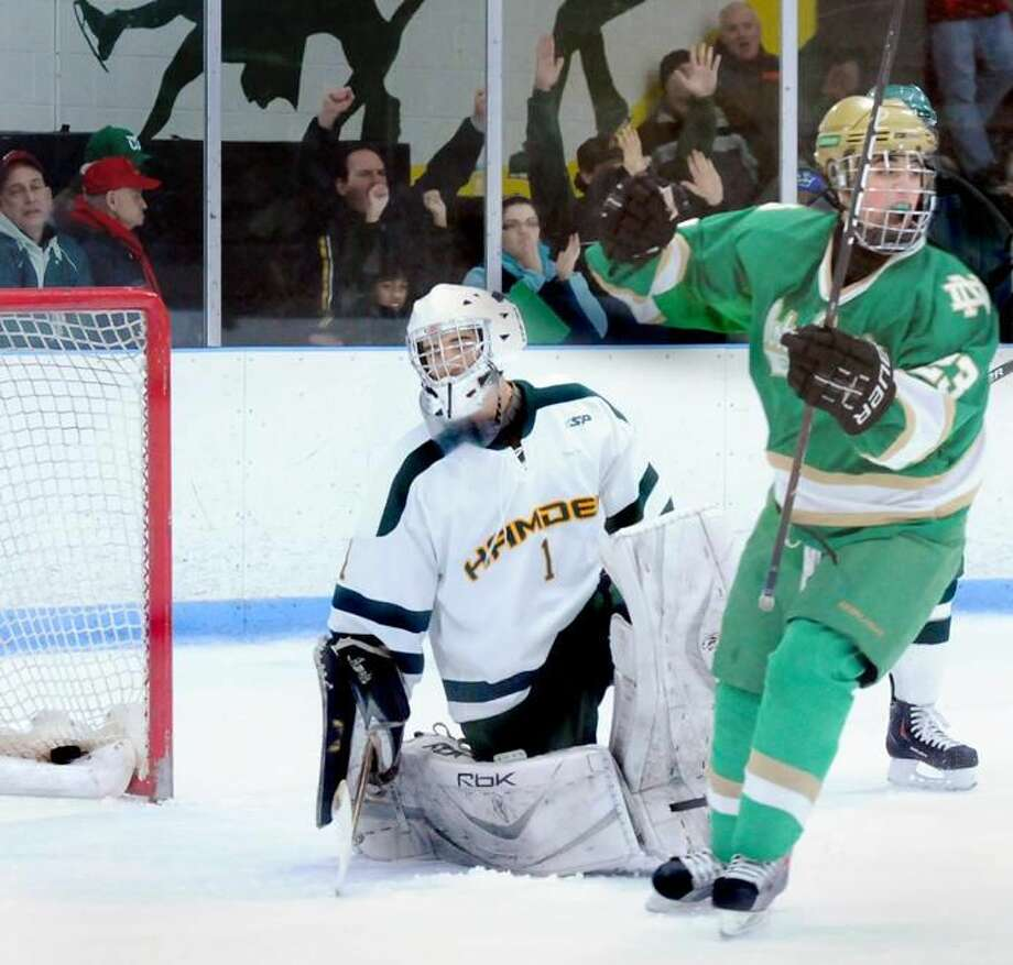 Notre Dame's Greg Zullo celebrates his team's fifth goal against Hamden in the Green Knights' 6-2 victory. (Photo by Melanie Stengel/ New Haven Register)