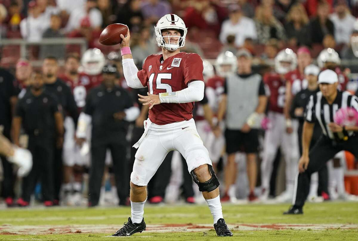 PALO ALTO, CALIFORNIA - OCTOBER 05: Davis Mills #15 of the Stanford Cardinal looks to pass against the Washington Huskies during the first quarter of an NCAA football game at Stanford Stadium on October 05, 2019 in Palo Alto, California. (Photo by Thearon W. Henderson/Getty Images)