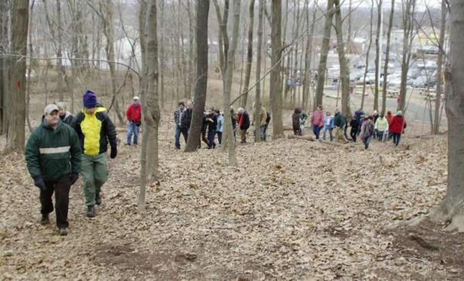 """Submitted Photo The Peter's Rock Association had a wonderful turnout for their """"fun hike"""" Sunday, Jan. 24, at Peter's Rock Park in North Haven."""