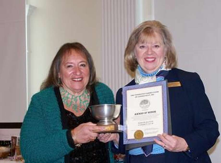 Submitted Photo Gerri Giordano with Award of Honor Pewter Bowl given by Jacqueline Connell.