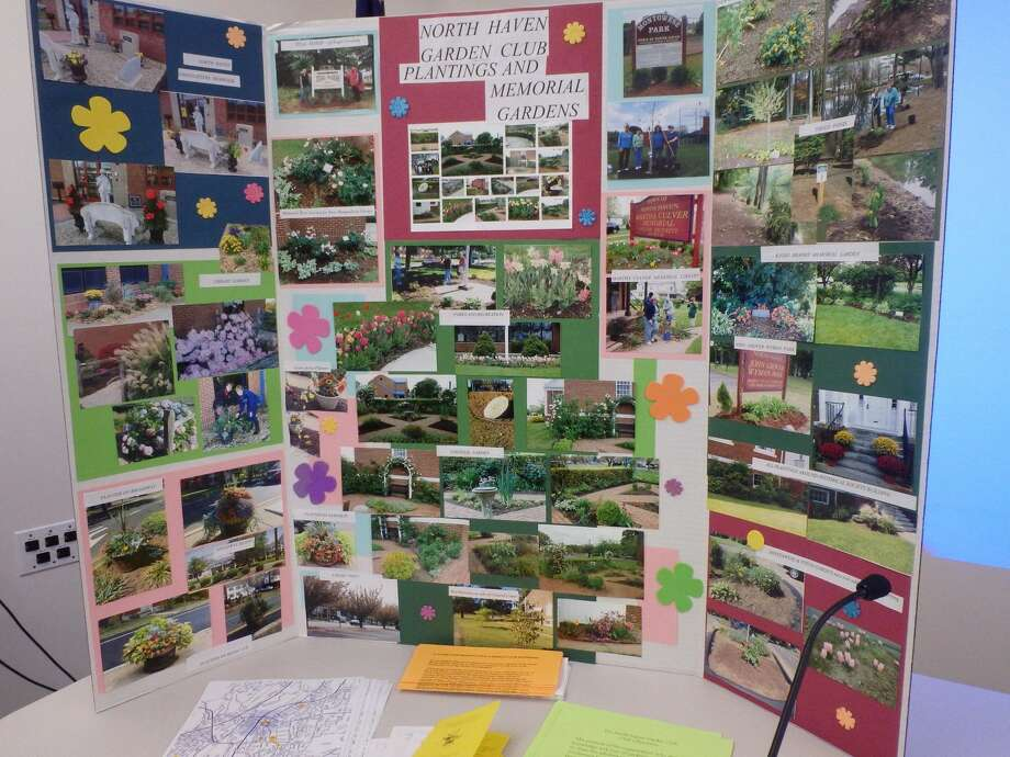 Poster board of gardens maintained by North Haven Garden Club