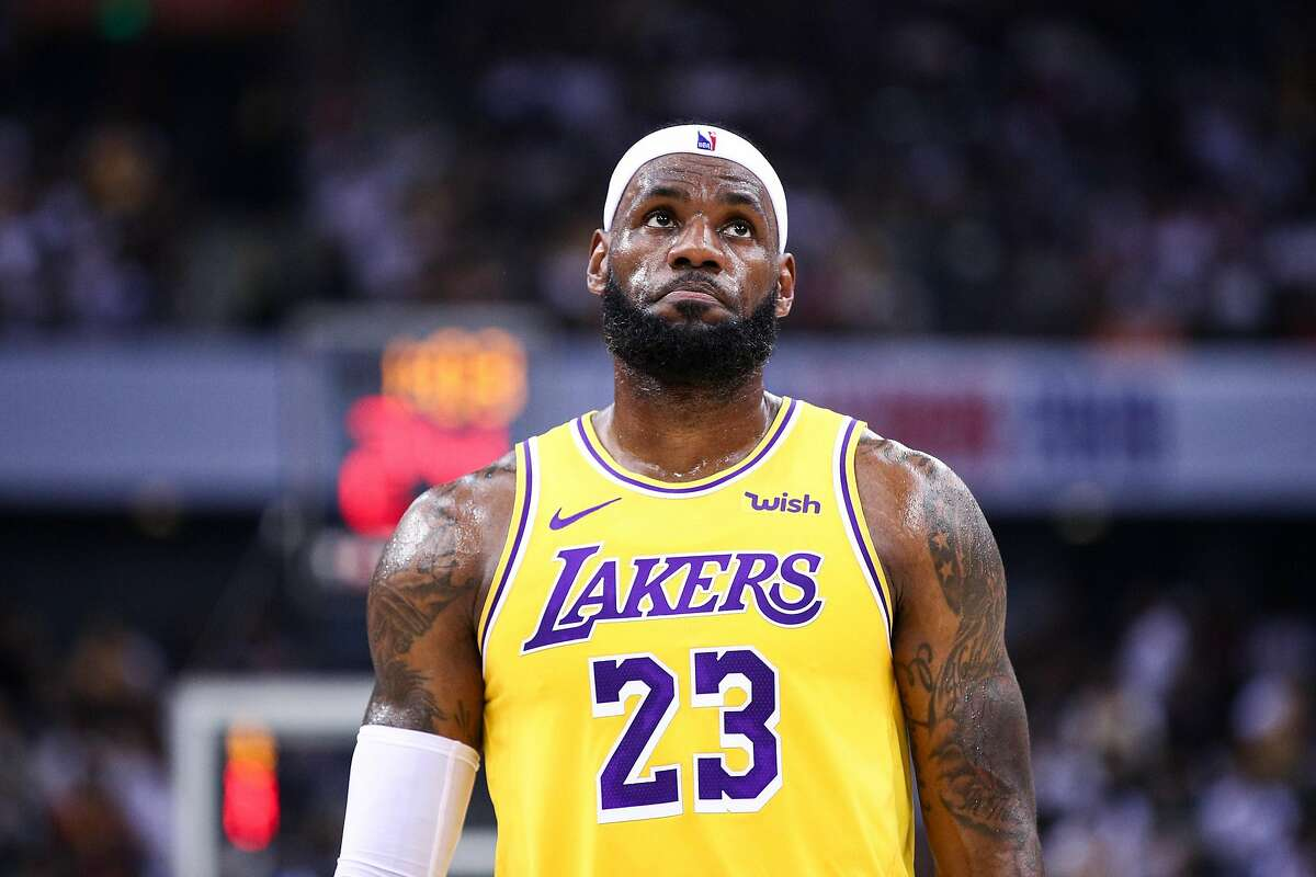 LeBron James #23 of the Los Angeles Lakers reacts during the match against the Brooklyn Nets during a preseason game as part of 2019 NBA Global Games China at Shenzhen Universiade Center on October 12, 2019 in Shenzhen, Guangdong, China.