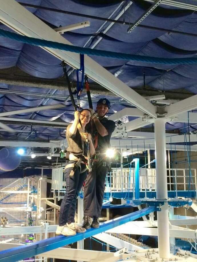 About 15 New Haven firefighters performed a series of training evolutions at Jordan's Furniture It Adventure Indoor Ropes Course Friday morning.