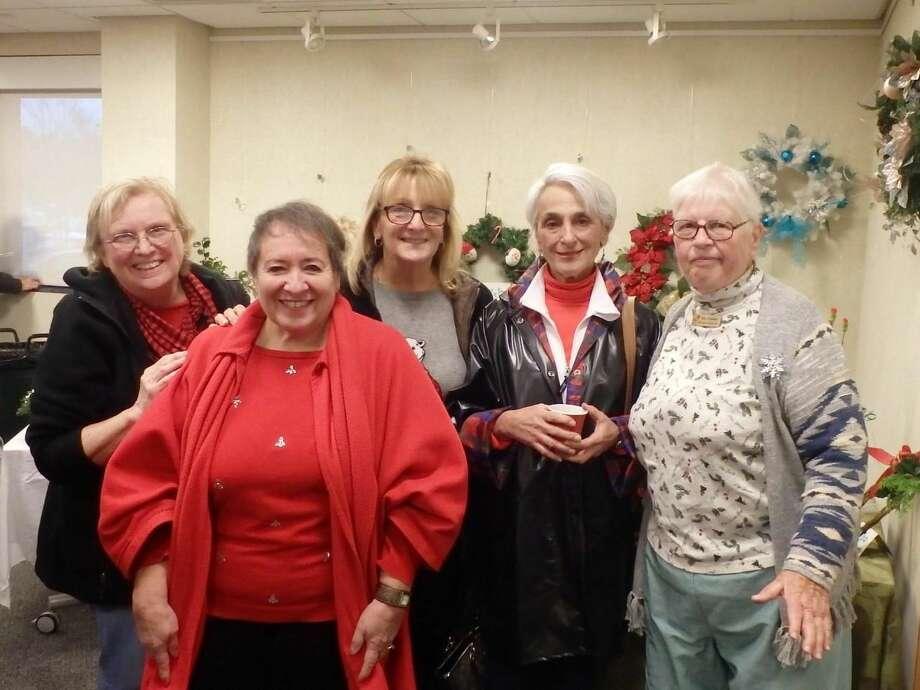 Sandy Ginter, Gerri Giordano, Cindy Golia, Lee Fermo and Ellie Tessmer at the tea.