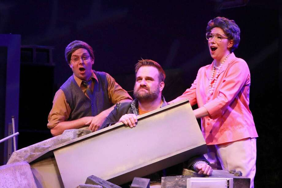 "Will Clark, Stephen Wallem and Amanda Huxtable in ""I Hate Musicals."""