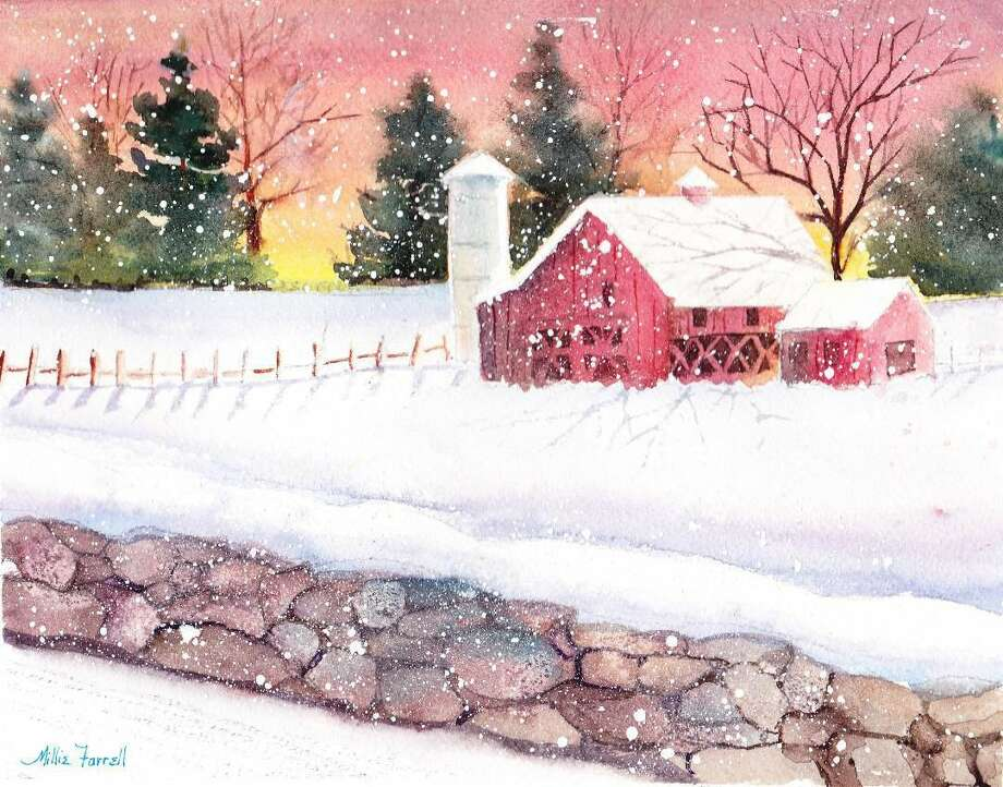 "Winter Morning, 8 1/2"" x 11"", watercolor by Millie Farrell, is included in the exhibition."