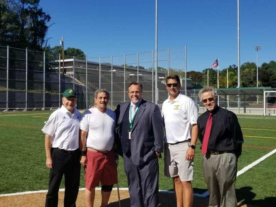 From left, Council President Jim Pascarella, Councilman At-Large John DeRosa, Mayor Curt Balzano Leng, HHS Athletic Director Tom Dyer, Superintendent of Schools, Jody Goeler.