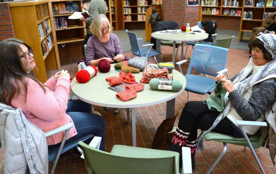 Members of the knitters group at work.