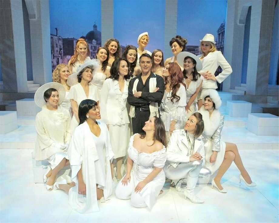 """Photo by John Vecchiolla The cast of """"Nine"""" including Robert Cuccioli as Guido (center) at Westchester Broadway Theatre in Elmsford, N.Y."""