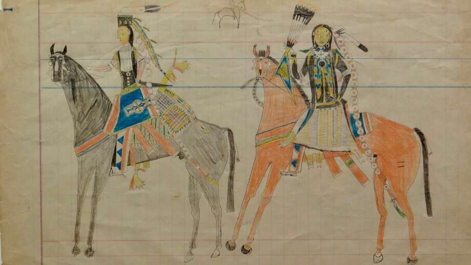 One of 50 sketches from the Ledger Drawings of the Plains Indians exhibit at Fairfield University Art Museum.