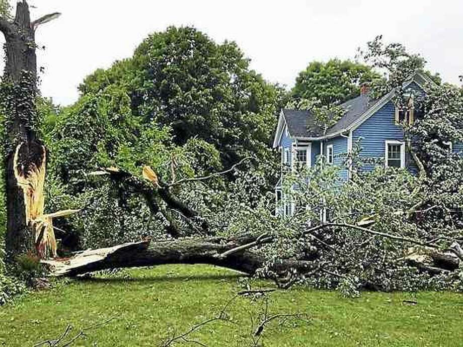 Photo courtesy of North Haven Fire Department A tornado swept through North Haven Wednesday afternoon, taking down wires and trees like this one on Middletown Avenue.