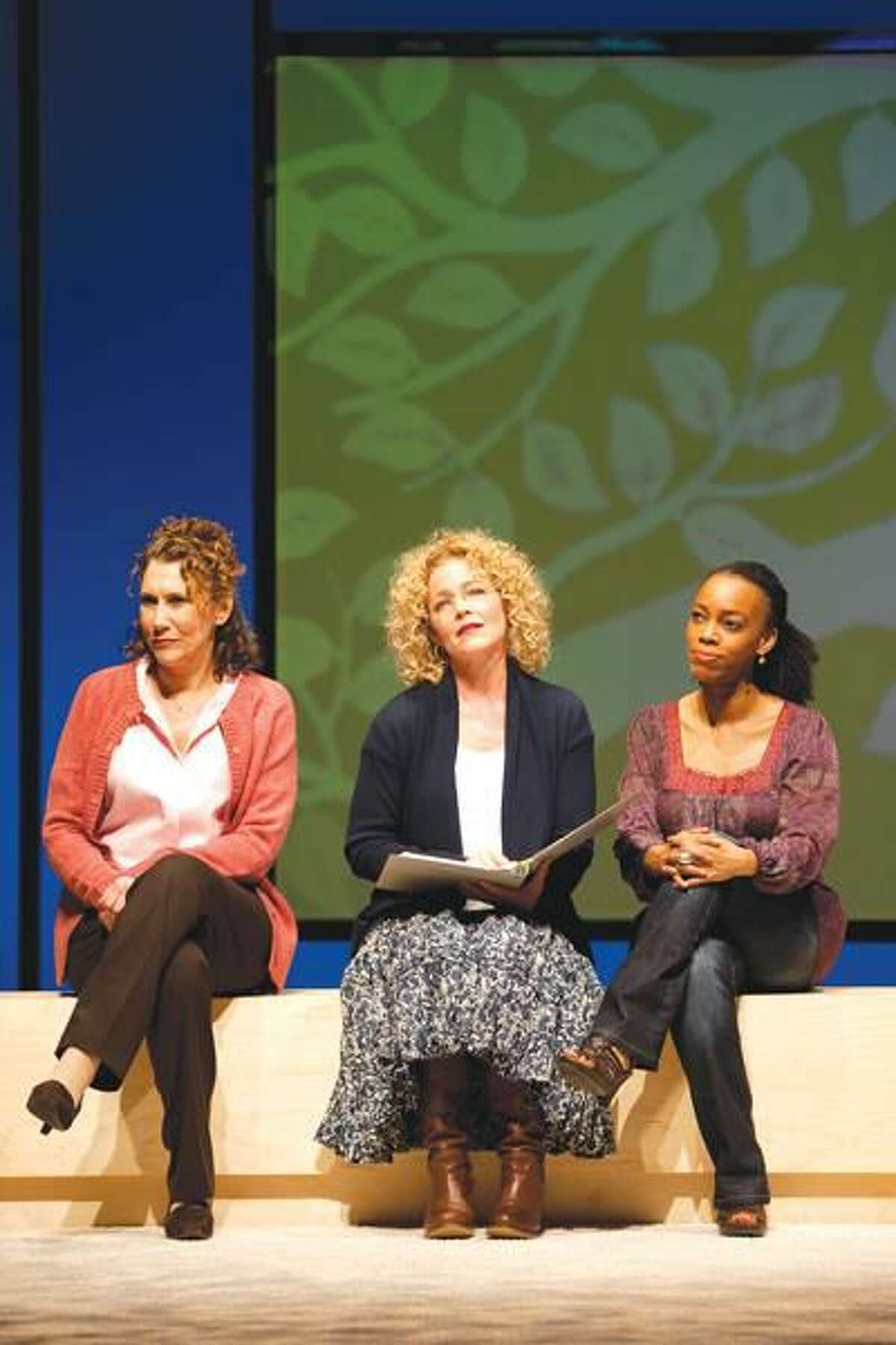"""Photo by T. Charles Erickson Randy Graff, Amy Irving and April Yvette Thompson perform in Hartford Stage's """"Motherhood Out Loud."""""""