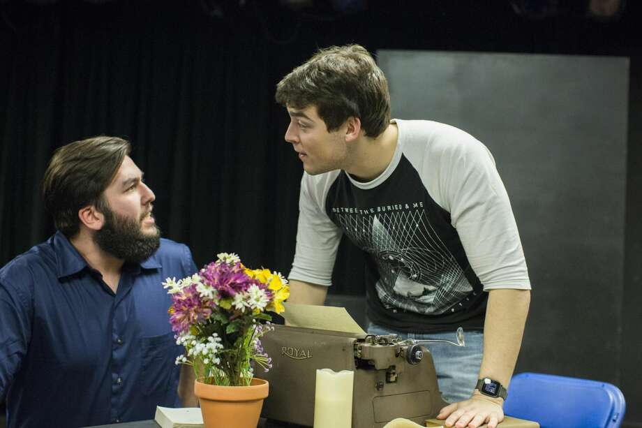 """Photo by Christopher Capozziello. Quinnipiac University students Ryan Devaney, left, and Gerard Lisella, rehearse a scene from """"The Shadow of a Gunman,"""" which was performed earlier this year at Quinnipiac University."""