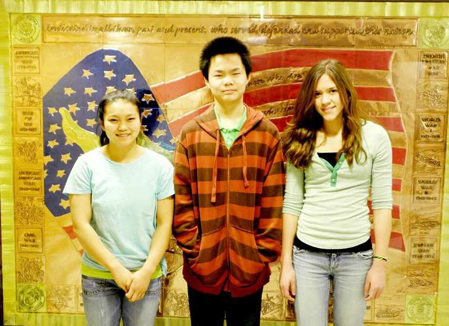 Submitted Photo Shown left to right are the winners in Division II (7th and 8th grades): Harper Hansen, first place; Raphael Song, second place; and Lily Fontes, third place. The winner of Division I (5th and 6th grades) was Marie Shah (not pictured).