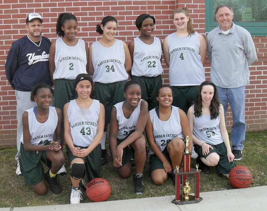 The Hamden Fathers girls' basketball travel team recently placed second in the Devon Knights Rotary Hoopfest Tournament. Picture above are team members (front row): Dominique Burgess, Ashley Arroyo, Charleese Smith, Lauren Singleton, and Mikaela Canning; (back row): coach Ken Butricks, Ryenne Carpenter, Breana Parker, Imani Canton, Kelly Butricks, and coach Mike Canning. (Submitted photo)