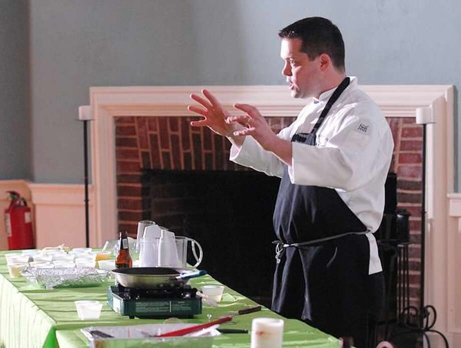 """Photo by Peter Casolino Chef Robert Landolphi, Culinary Arts Instructor from UCONN, gives a demonstration on the art of gluten free cooking at the High Lane Club in Hamden. The event, sponsored by the Greater New Haven Celiac Group, was open to the public. Landolphi is the author of the """"Gluten Free Every Day"""" cookbook."""