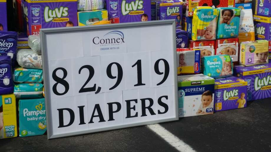 The employees of the North Haven branch of Connex Credit Union donated diapers to The Diaper Bank.