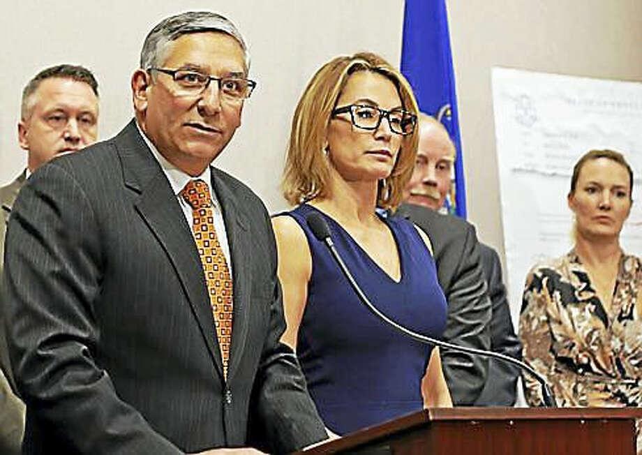 State Senate Republican leader Len Fasano and House Republican leader Themis Klarides.
