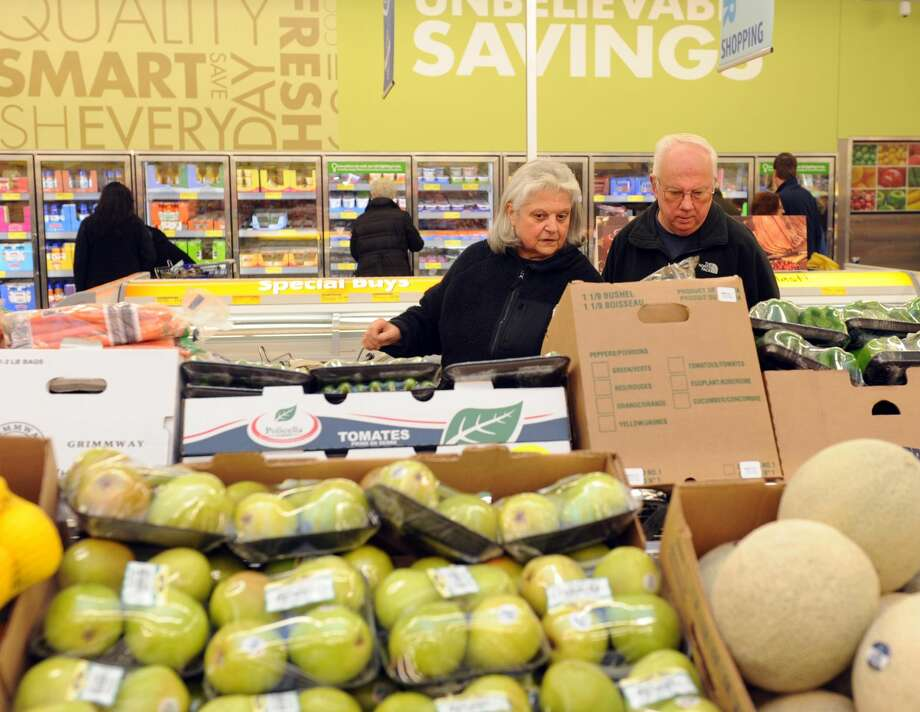Ann Marie and John Checkley shop at the new ALDI supermarket in Derby.