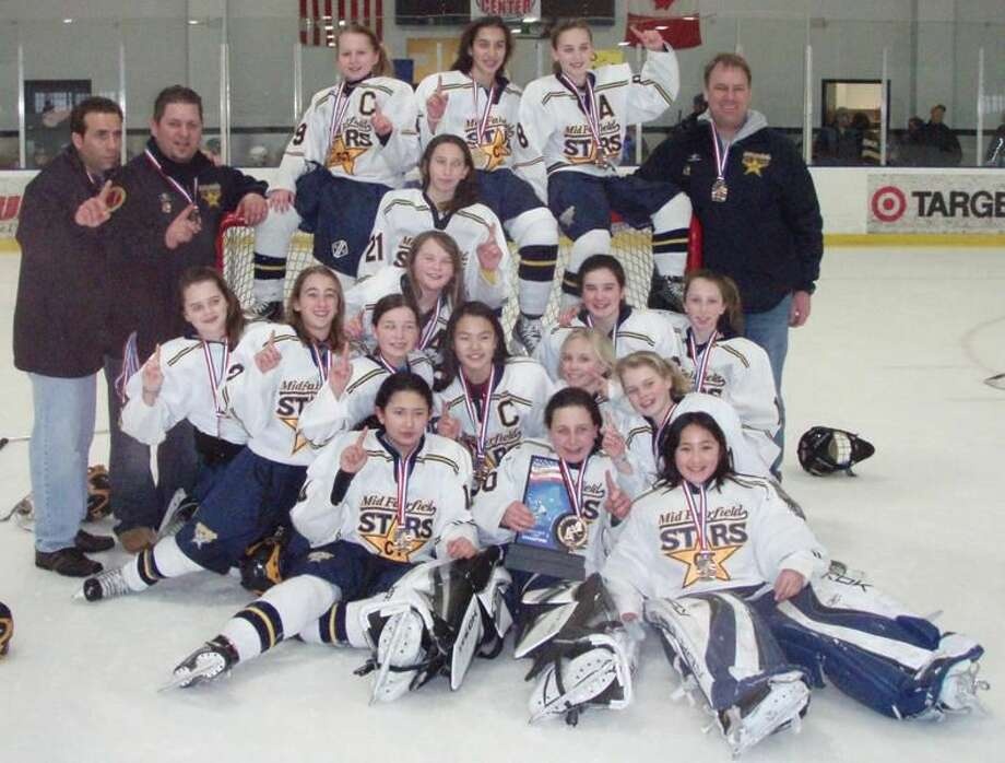 The Mid-Fairfield Connecticut Stars Girls U12 Tier 1 Hockey team recently won the New England Regional Tournament to earn a berth in the 2010 USA Hockey National Championships. Hamden's Madison Jerolman, Kate Klimaszewski and Bria Reilly, and North Haven's Ashley Carbone and Lauren Ferraiuolo are members of the team. (Submitted photo)
